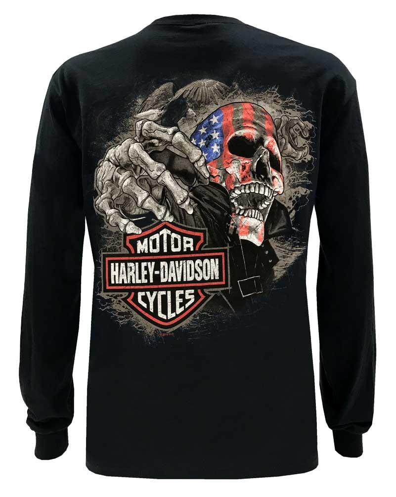 Harley-Davidson Mens Eagle Piston Long Sleeve Crew Shirt Black 30299947