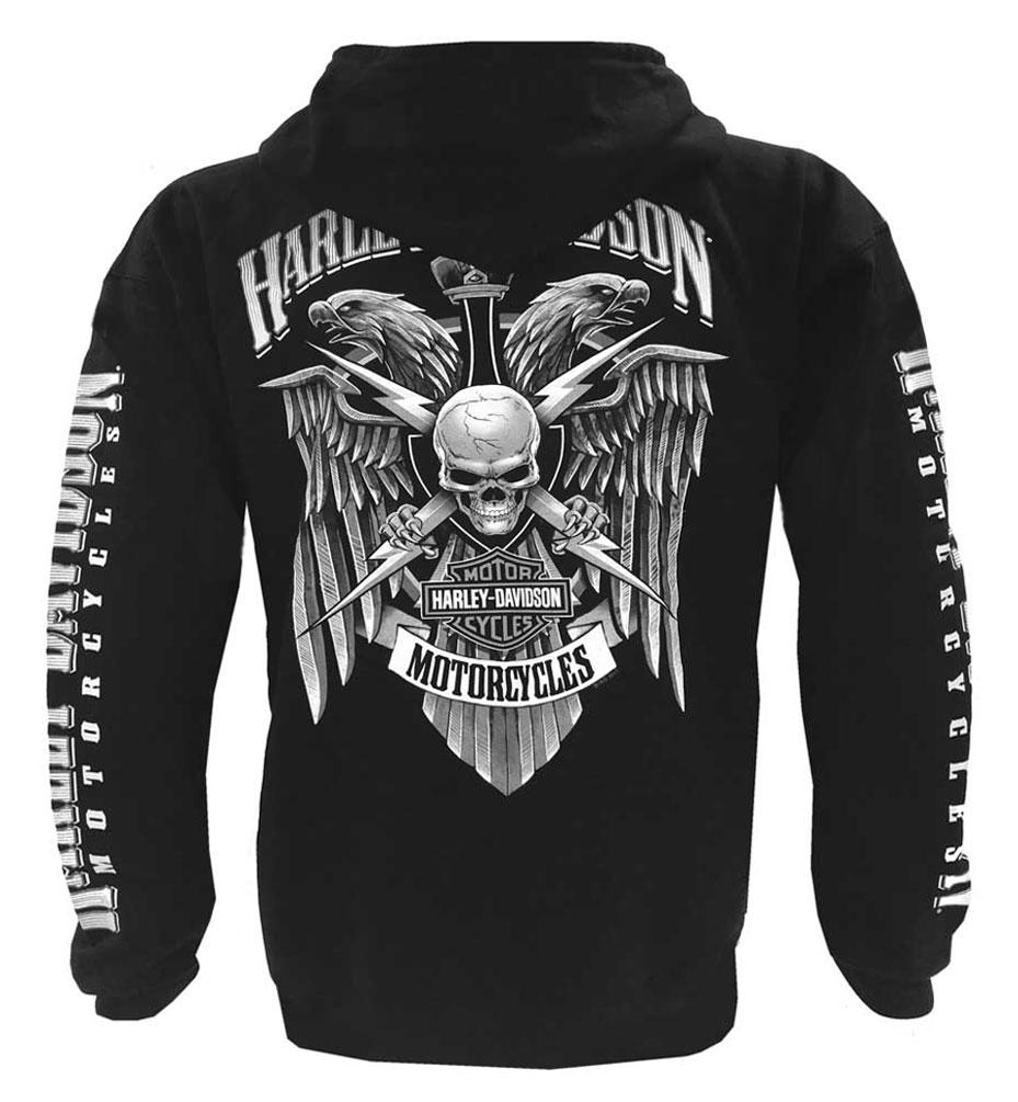Harley Davidson Men S Lightning Crest Full Zippered Hooded