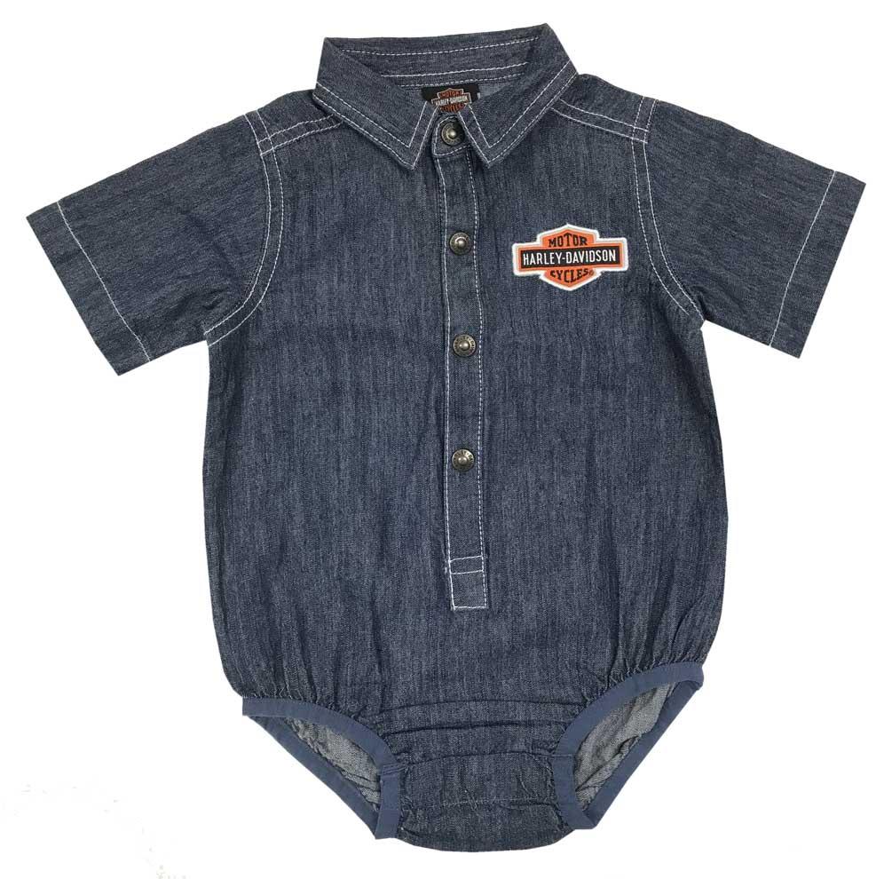 1d3ef0de5 Harley-Davidson Baby Boys' Woven B&S Denim Short Sleeve Creeper, Blue  3053807