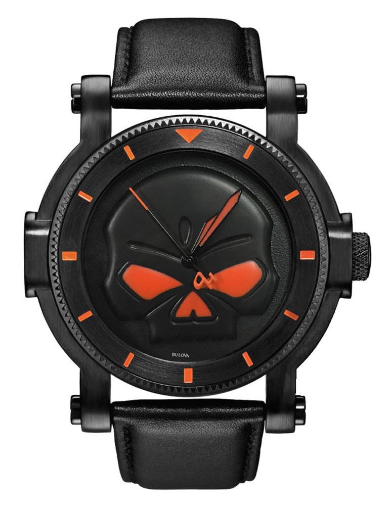 Harley Davidson Men S Bulova Black Willie G Skull Wrist