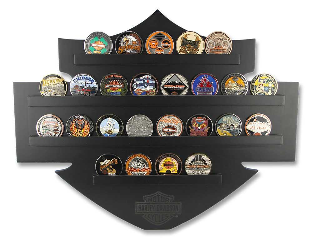 Harley Davidson Bar Amp Shield Wall Coin Display Holds 25