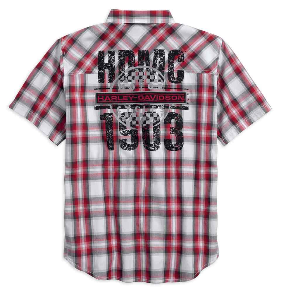 Harley-Davidson men/'s eagle plaid short sleeve