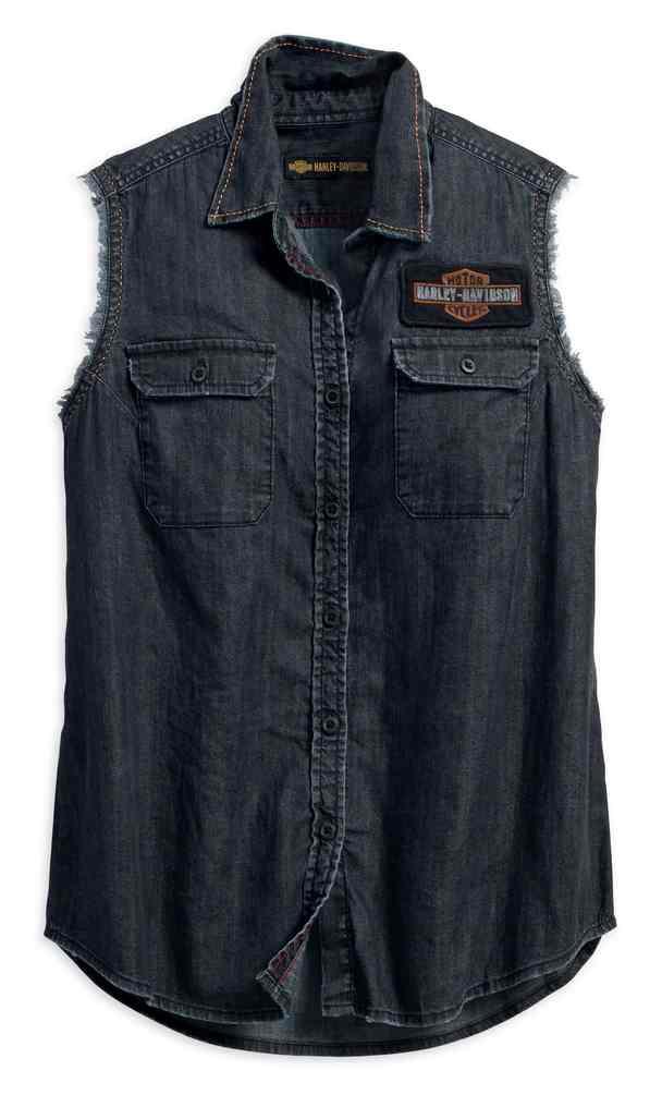 Harley Davidson Women S Vintage Sleeveless Denim Shirt