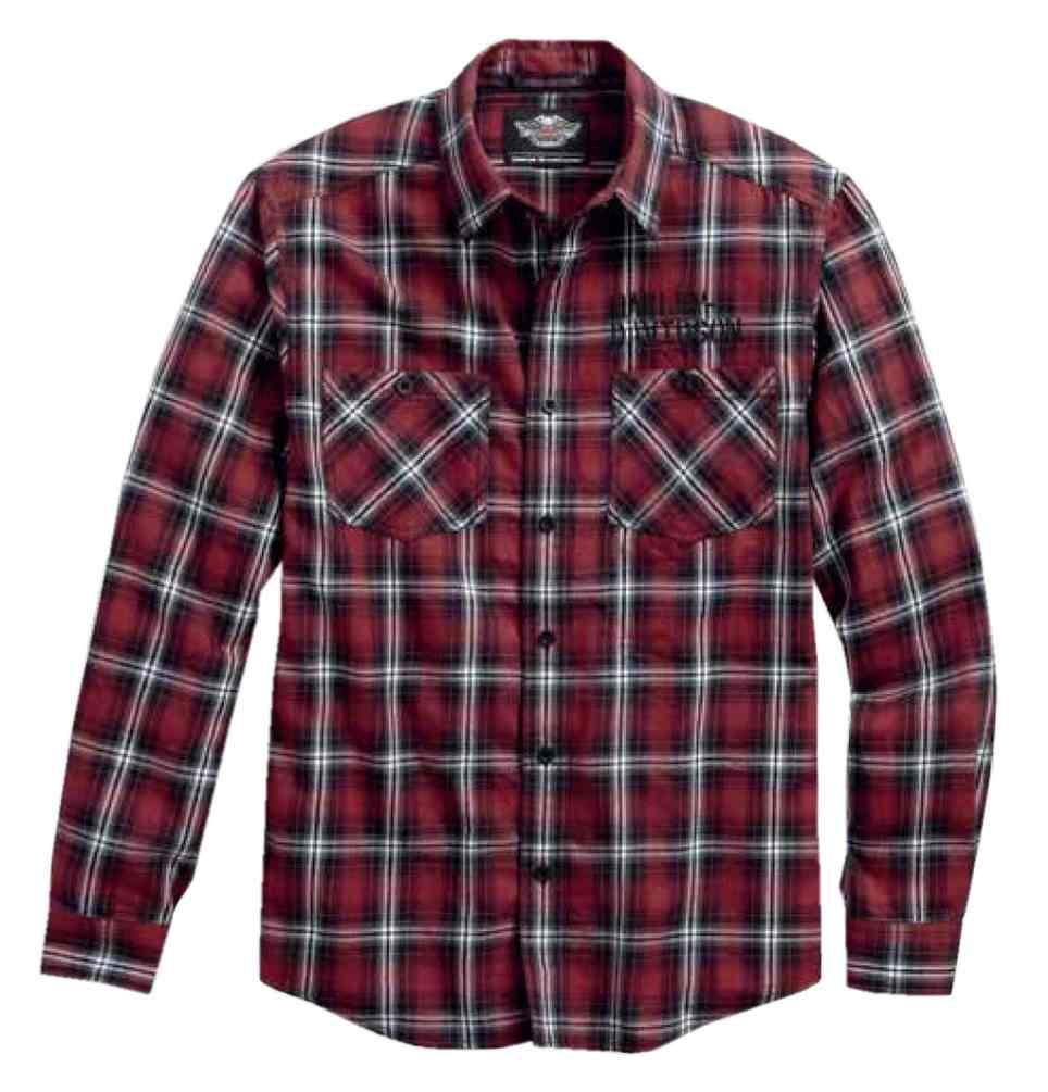 Harley davidson men 39 s embroidered plaid long sleeve for Flannel checked long sleeve shirt