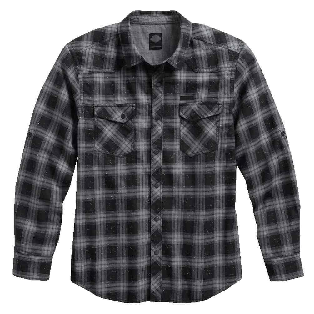 Harley Davidson Men 39 S Roll Tab Sleeve Plaid Woven Shirt