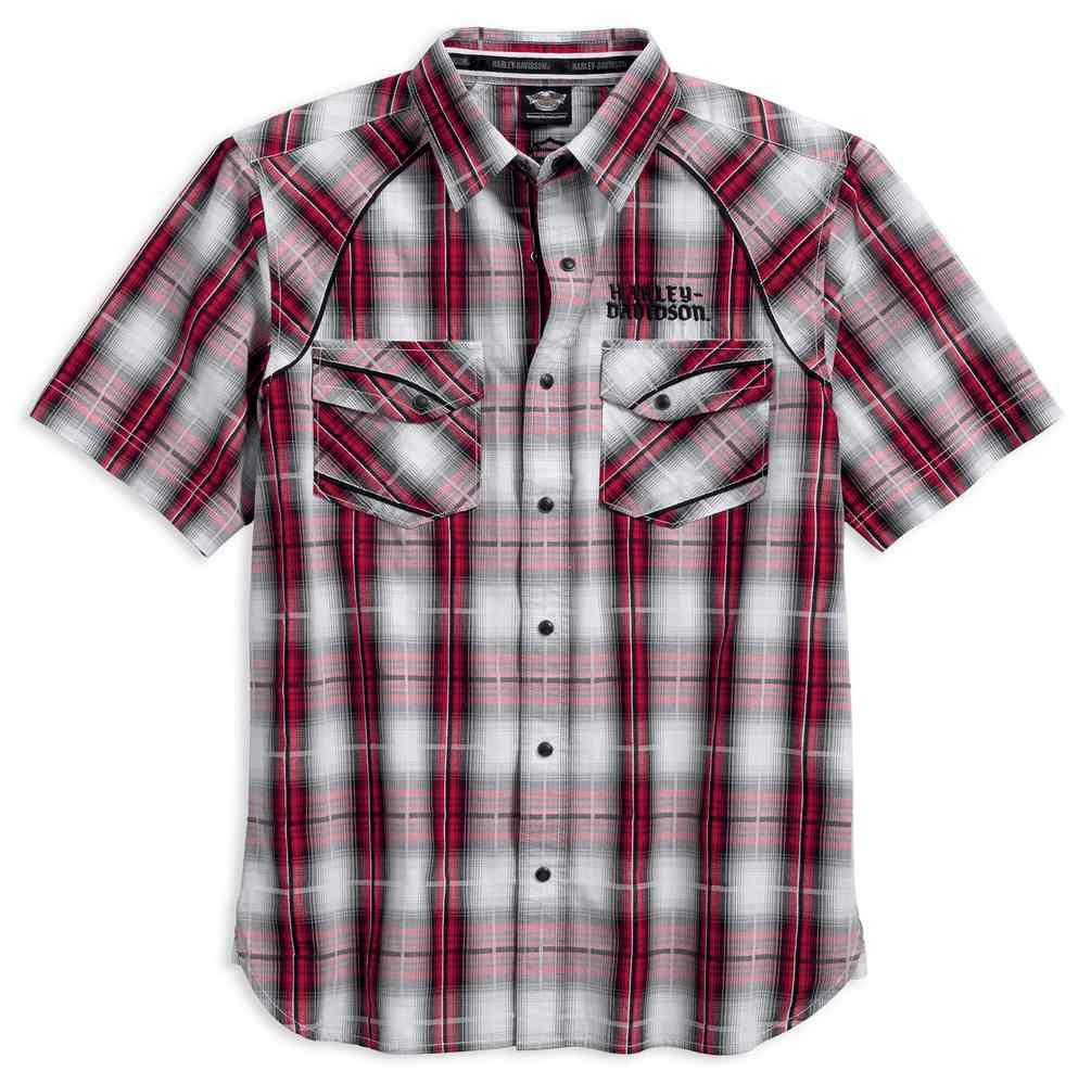 harley-davidson® men's modified yoke americana plaid shirt, red