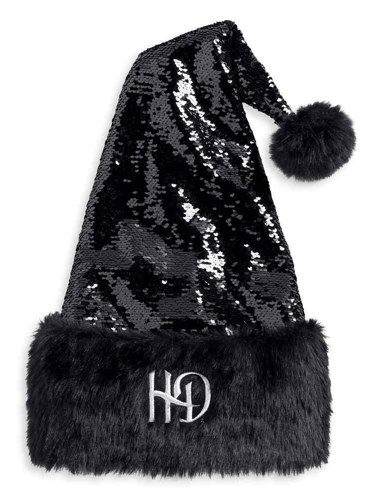 Harley Davidson Sequin Amp Faux Fur Santa Hat W Metallic H D Black 96907 18v Ebay