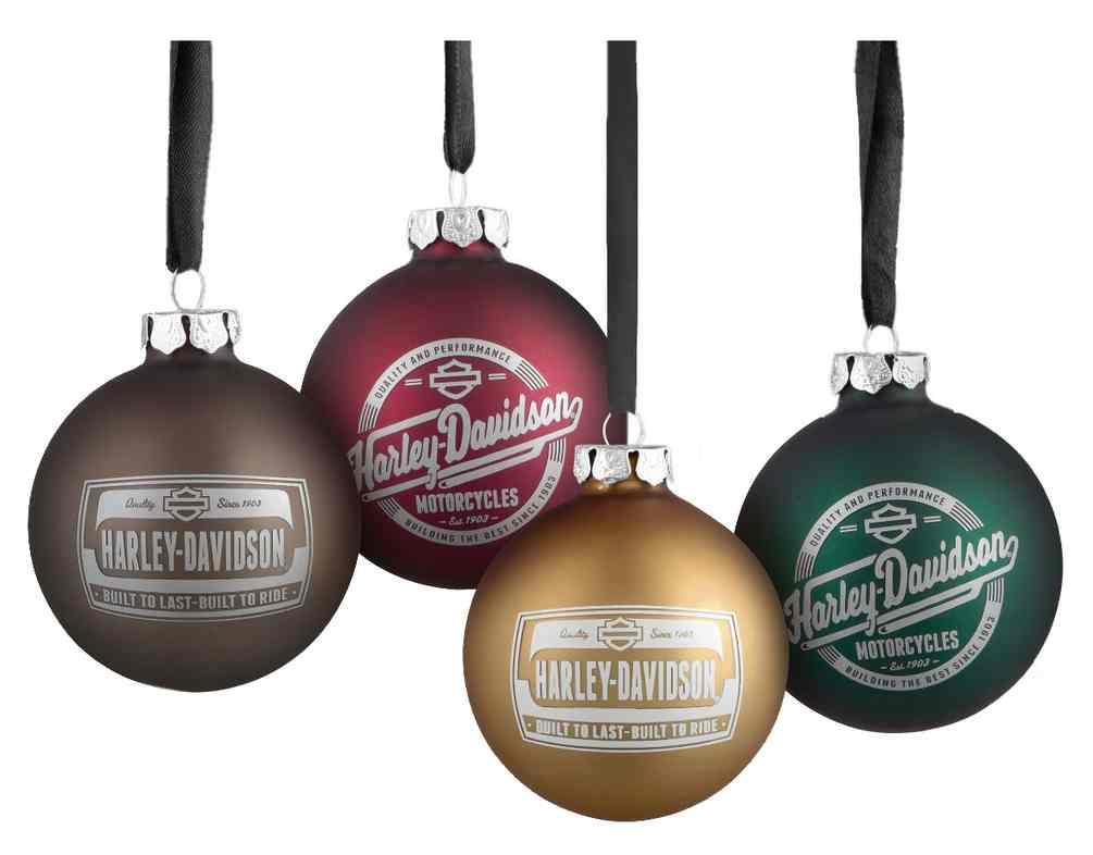 Harley-Davidson Set of 4 Glass Ball Ornaments, 2 Seasonal Graphics ...
