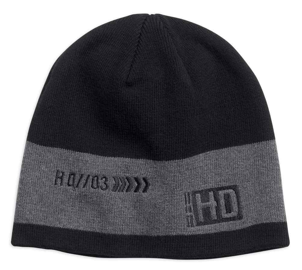 fc98254910b Harley-Davidson Men s Contrast Gray Stripe Knit Beanie Hat