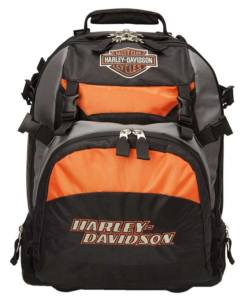 harley davidson bar shield logo wheeling backpack carry. Black Bedroom Furniture Sets. Home Design Ideas