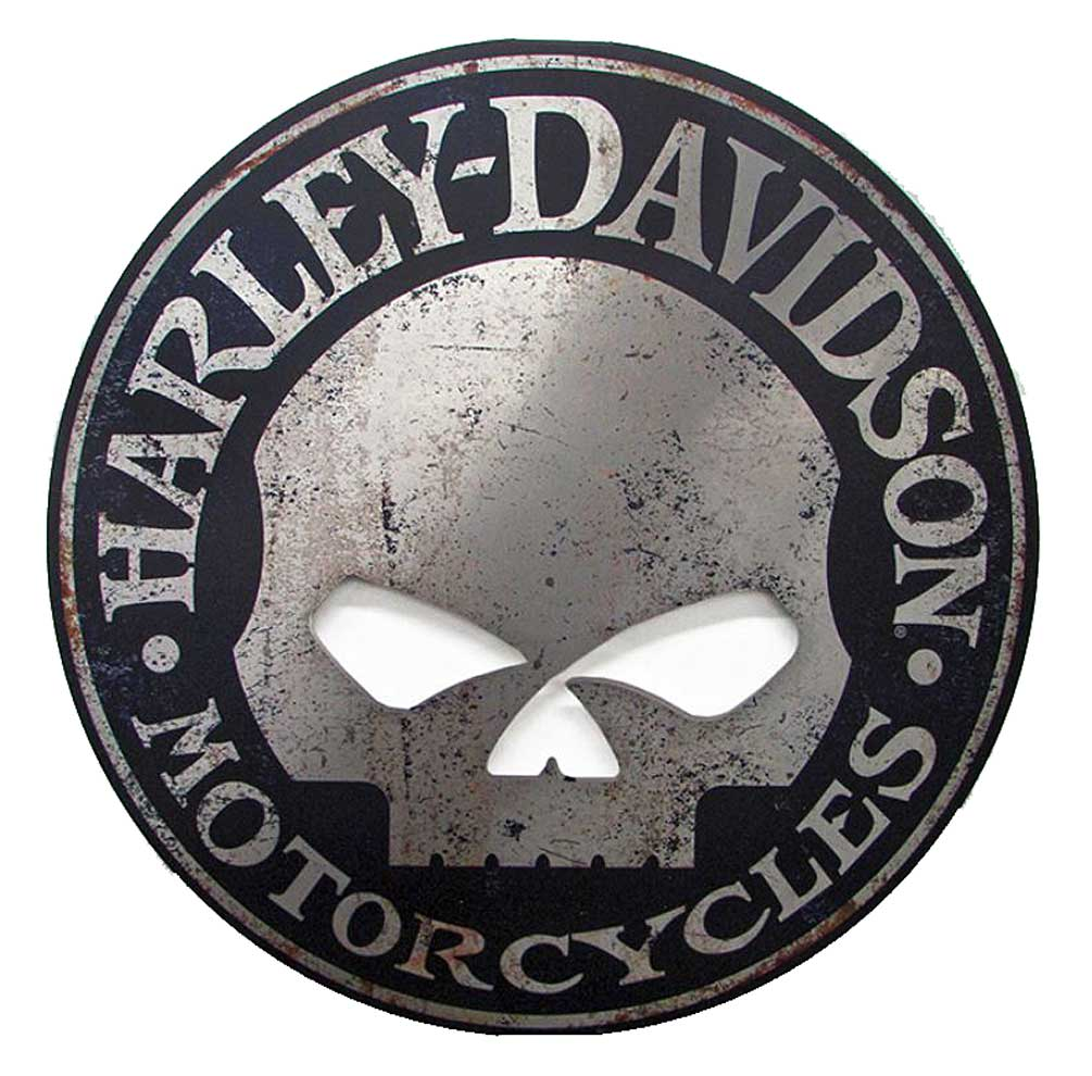 Harley davidson cut out rustic willie g skull aluminum sign ac harl cuscgpx5