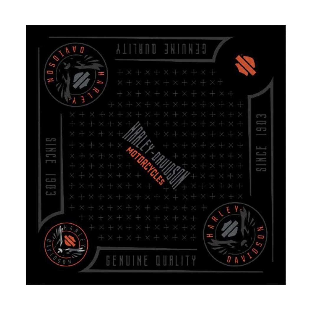 24 x 24 inch BA31430 Harley-Davidson Men/'s Velocity Bandana Black /& Orange