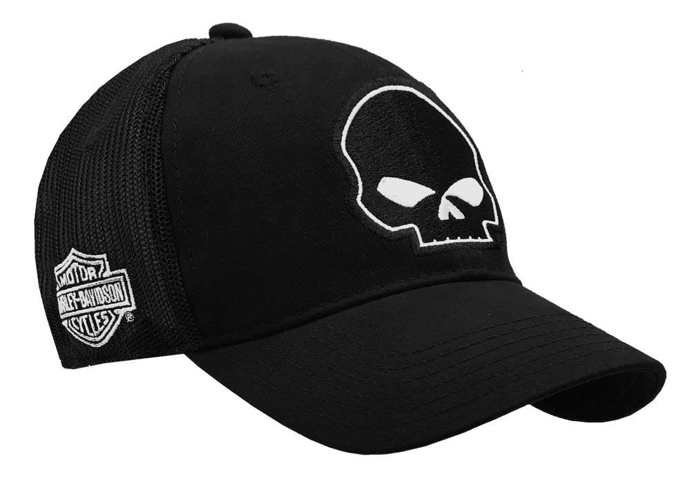 harley davidson willie g skull black baseball cap stretch. Black Bedroom Furniture Sets. Home Design Ideas