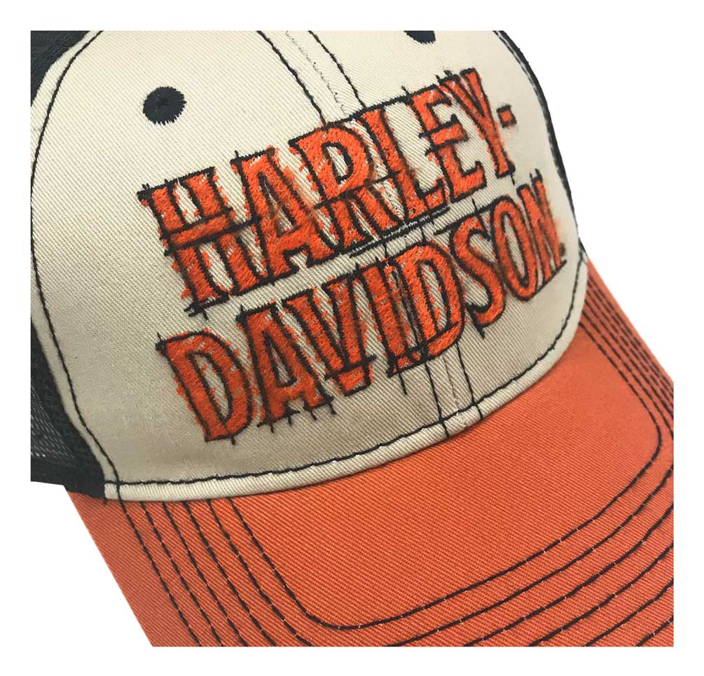 HD Cap Phantom Blanc Baseball Cap Visière Bonnet Crochet Et Boucle Harley Davidson