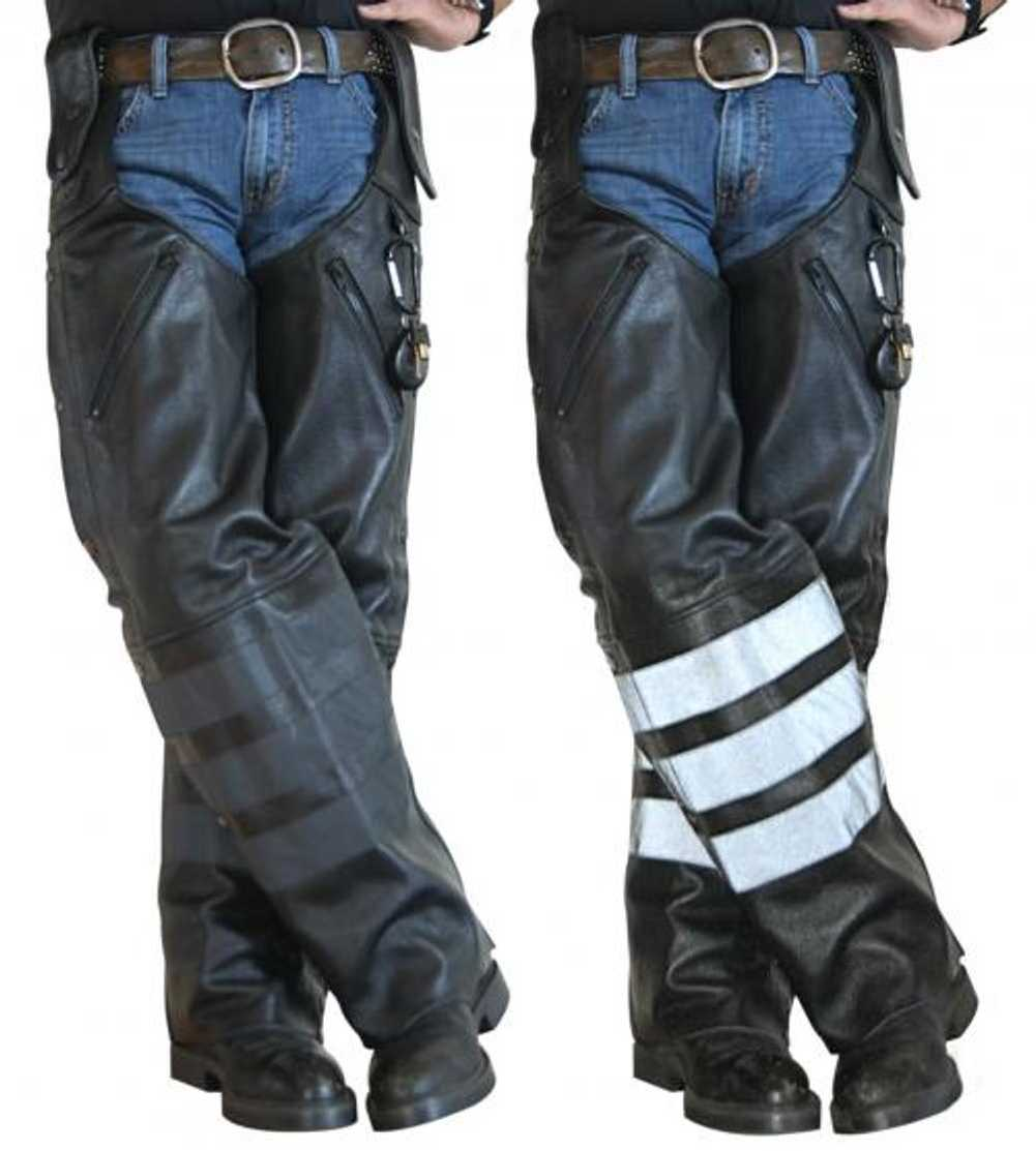 Unisex Leg Warmer Black Water Buffalo Leather Chaps 2 Pieces Hook to Your Belt