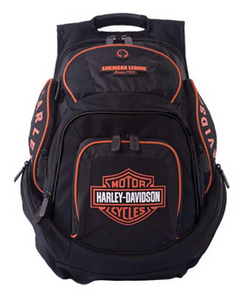Harley-Davidson Mens Deluxe Backpack BP1900S-ORGBLK