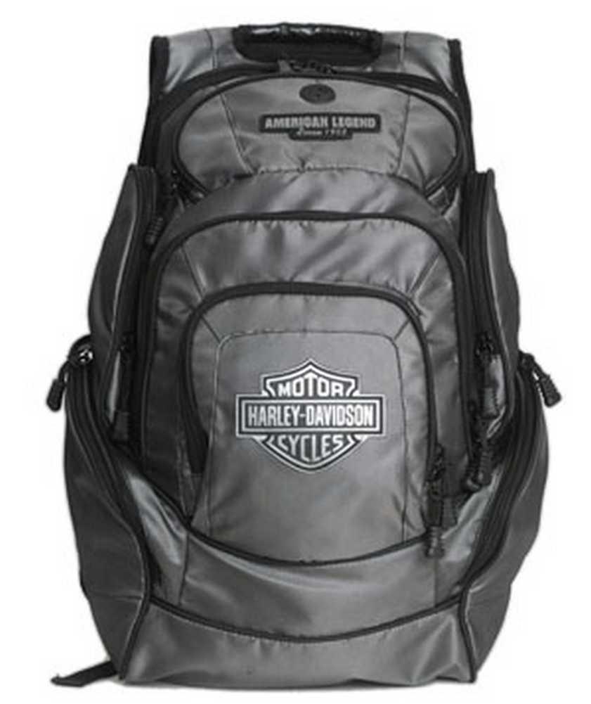 harley davidson mens chrome bar shield deluxe backpack. Black Bedroom Furniture Sets. Home Design Ideas