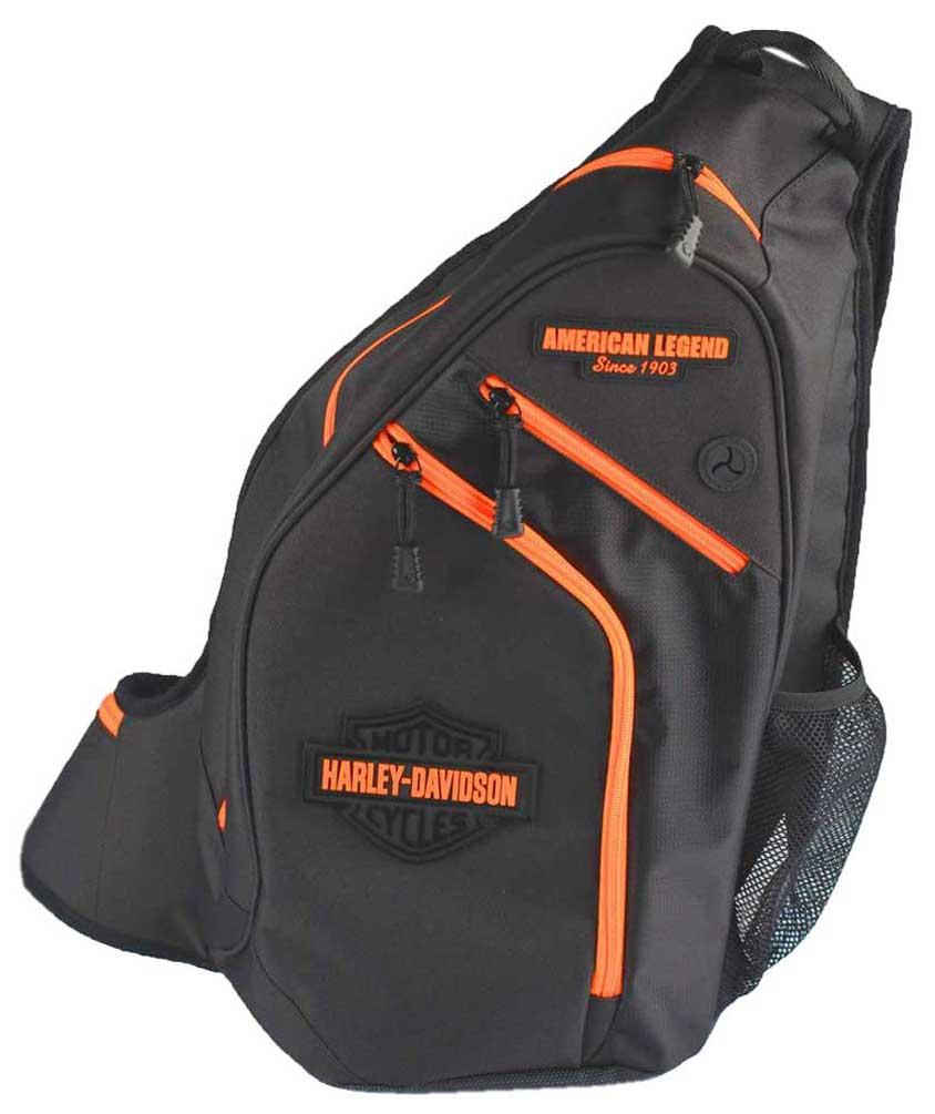 harley davidson neon orange sculpted bar shield sling. Black Bedroom Furniture Sets. Home Design Ideas