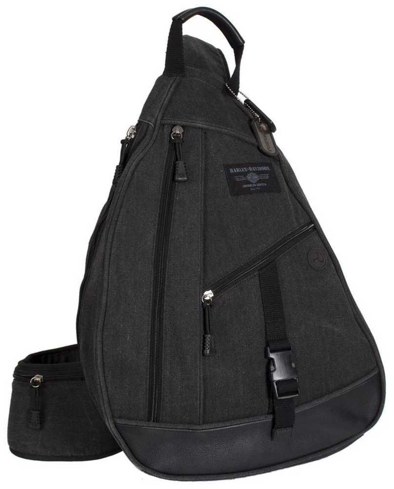 harley davidson mens c4 sling backpack cc8143s gryblk ebay. Black Bedroom Furniture Sets. Home Design Ideas