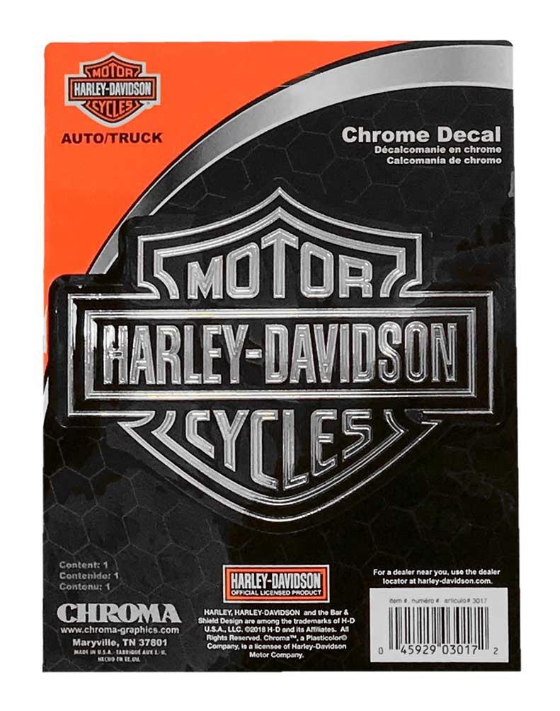 Harley davidson embossed bar shield logo chrome decal 6 x 8 in cg3017