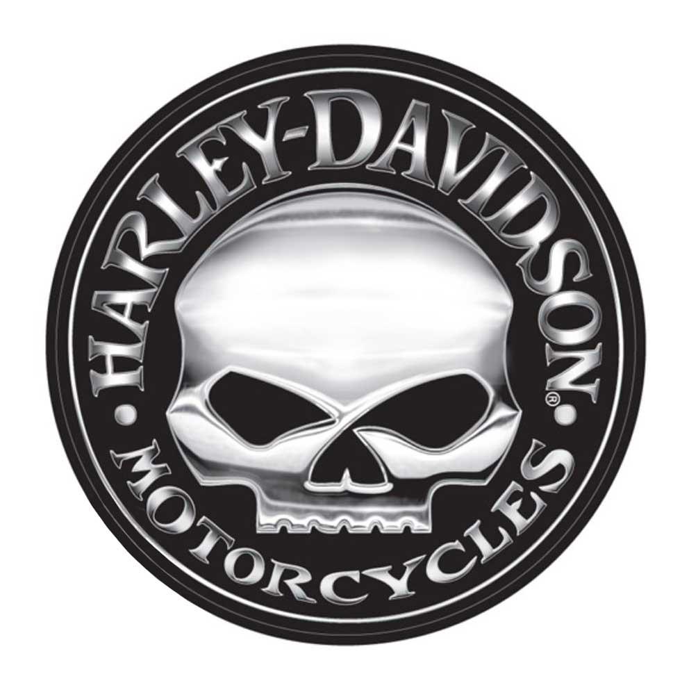 harley davidson decal silver willie g skull logo x large. Black Bedroom Furniture Sets. Home Design Ideas