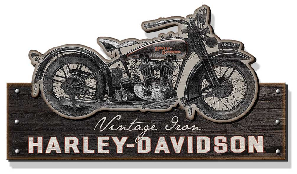 14 inch 2011491 Harley-Davidson Vintage Iron Bar /& Shield Embossed Tin Sign
