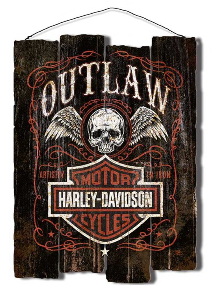 Harley Davidson Outlaw Staggered Fence Cut Out Wooden Sign