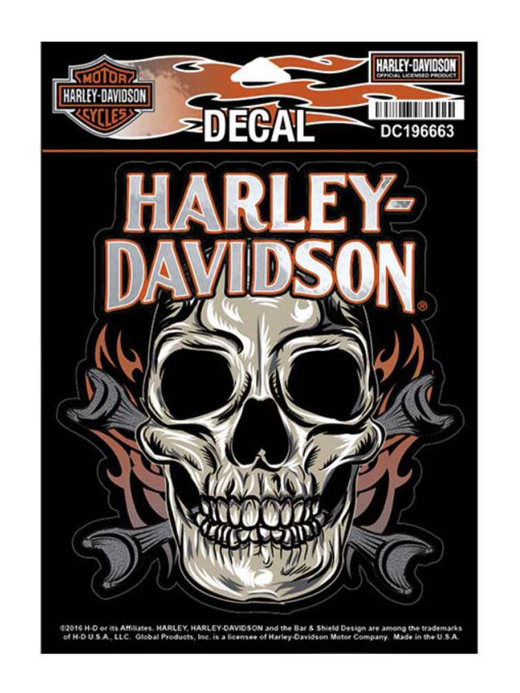 harley davidson skull mouth wrenches decal md size x. Black Bedroom Furniture Sets. Home Design Ideas