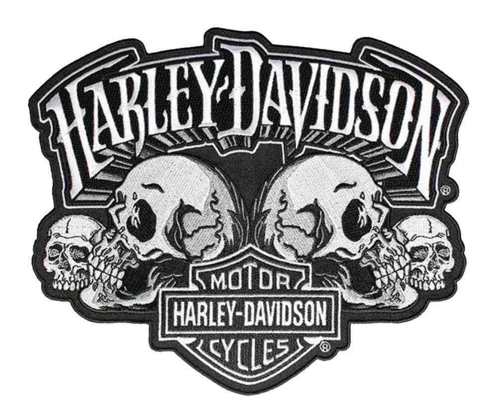 harley davidson skull text bar shield embroider emblem. Black Bedroom Furniture Sets. Home Design Ideas