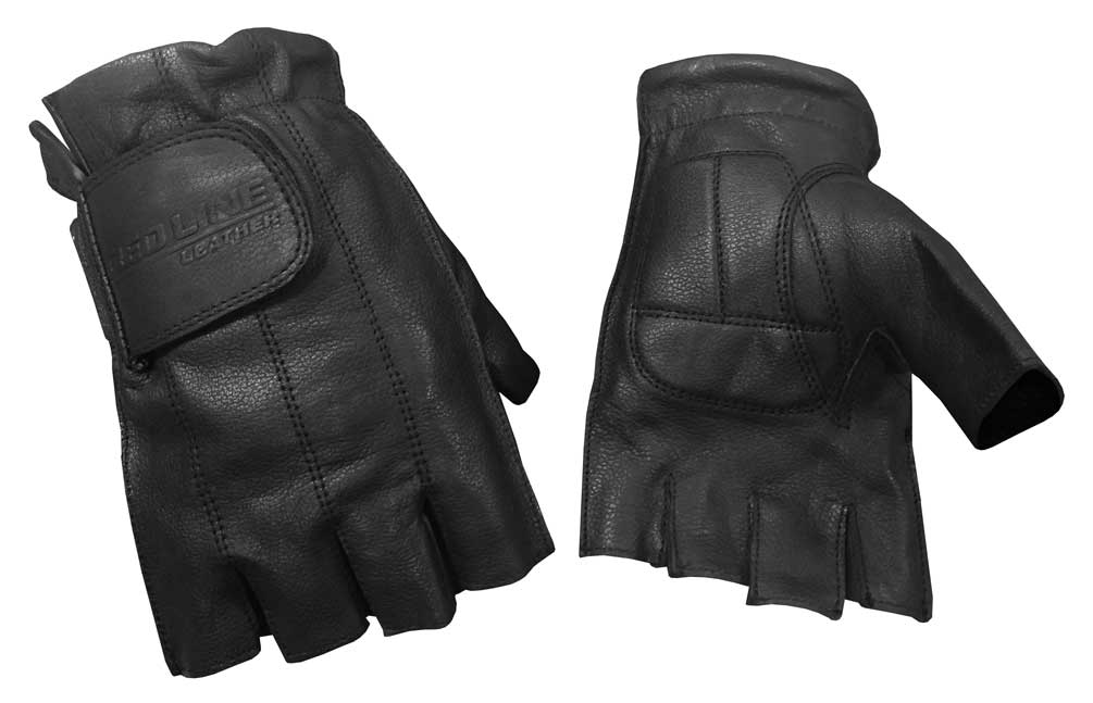 Redline Men's Gel Padded Fingerless Motorcycle Leather
