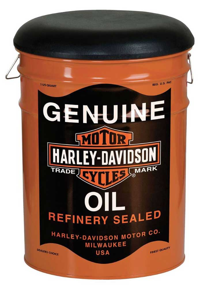 harley davidson genuine oil can bucket stool steel barrel