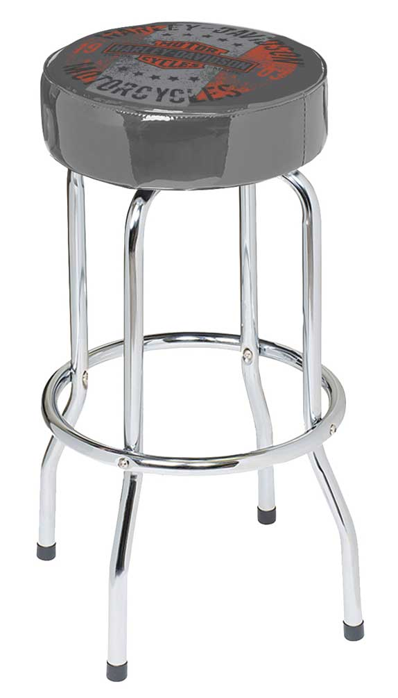 Excellent Details About Harley Davidson Distressed Motorcycle Steel Frame Bar Stool Gray Hdl 12136 Squirreltailoven Fun Painted Chair Ideas Images Squirreltailovenorg