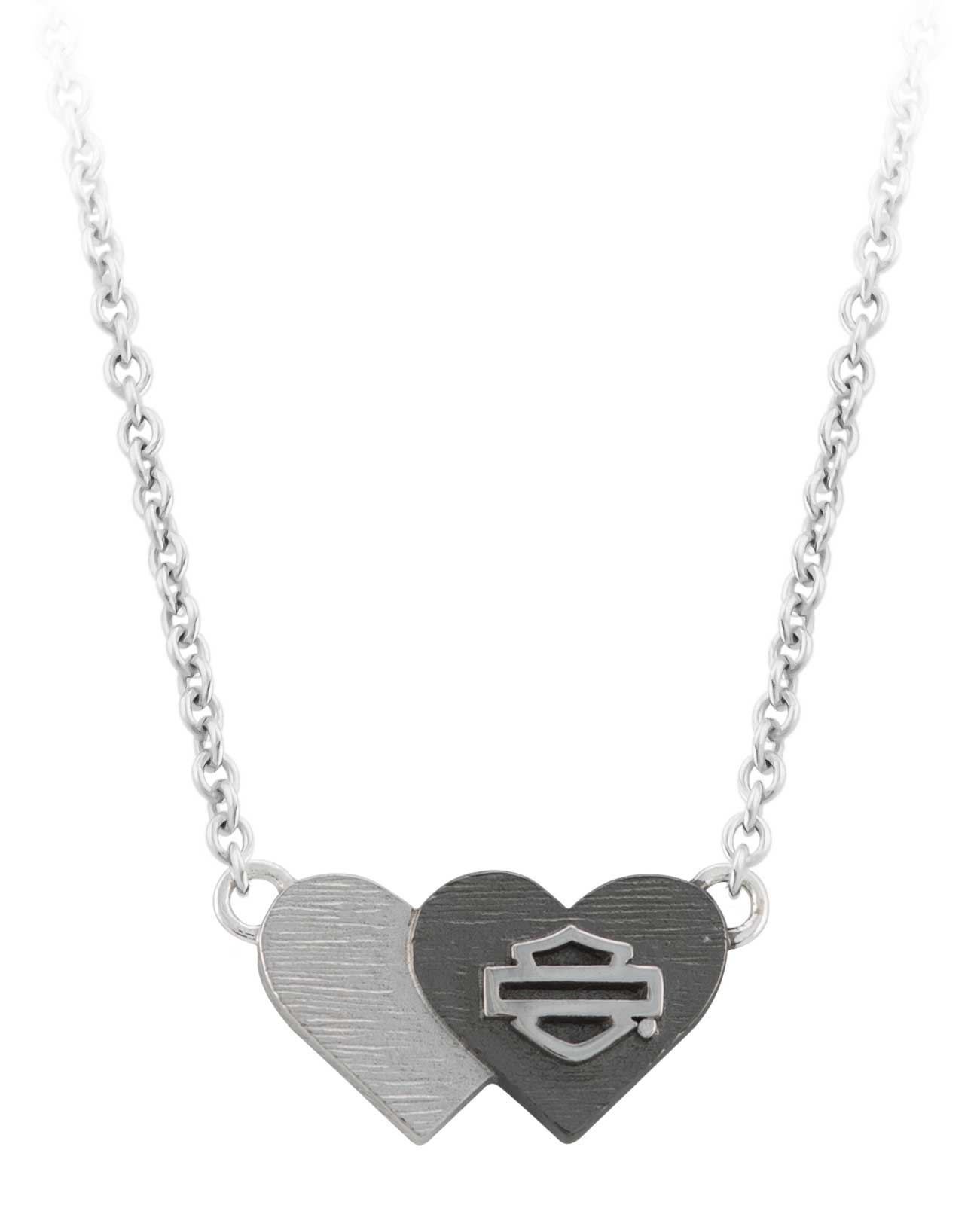Rhinestone Hearts Lobster Clasp Closure 26 Inches in Length Sterling Silver Black and Silver Double Heart Pendant Necklace