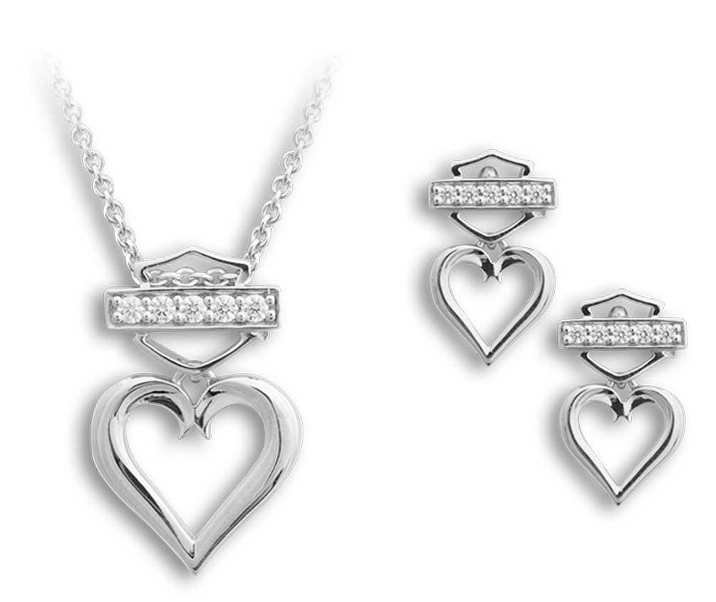 Harley-davidson Women's Bling Heart Necklace & Post ...