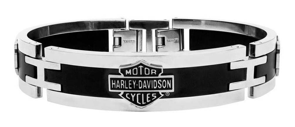 harley davidson men 39 s stainless steel black cuff style. Black Bedroom Furniture Sets. Home Design Ideas