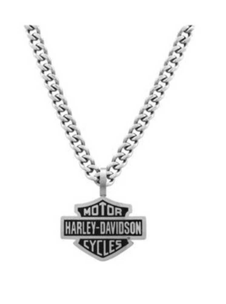 HarleyDavidson Mens Bar Shield Curve Link Necklace Stainless