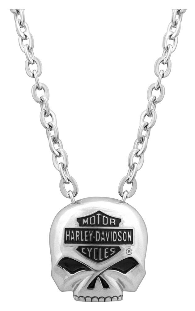 Harley-Davidson Men/'s Steel Skull Bar /& Shield Necklace HSN0003//22
