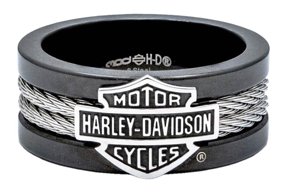 Harley Davidson Men S Ring Bar Amp Shield Steel Cable Band