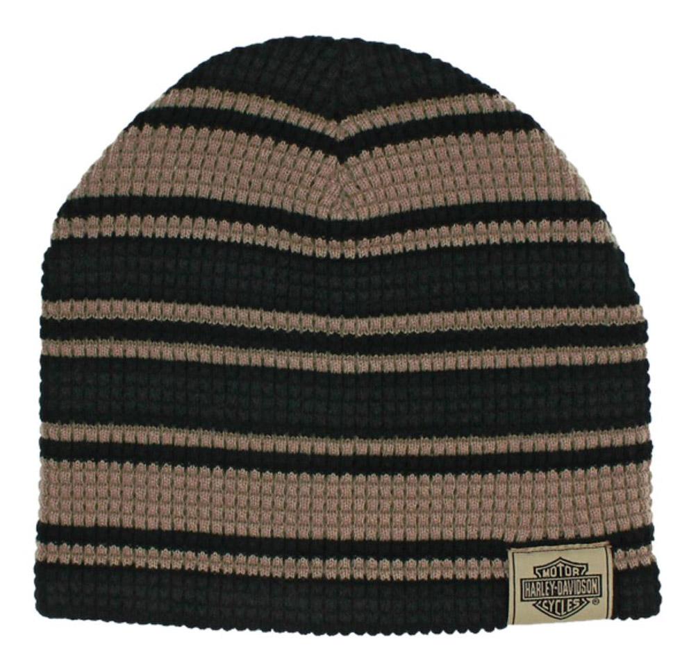 6723e79f836 Harley-Davidson Men s Striped H-D Embroidered Knit Beanie Hat Black ...
