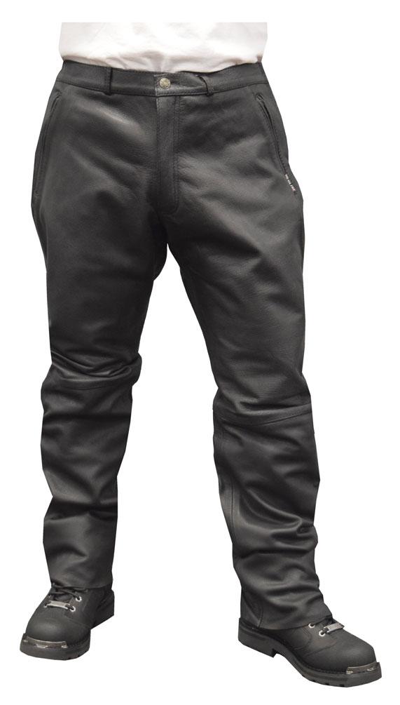 Redline Mens Black Side Angle Zip Pockets Leather