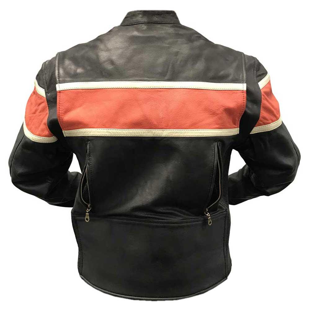 Redline Men S Orange Stripe Cowhide Leather Motorcycle Jacket Black M 3200 Ebay