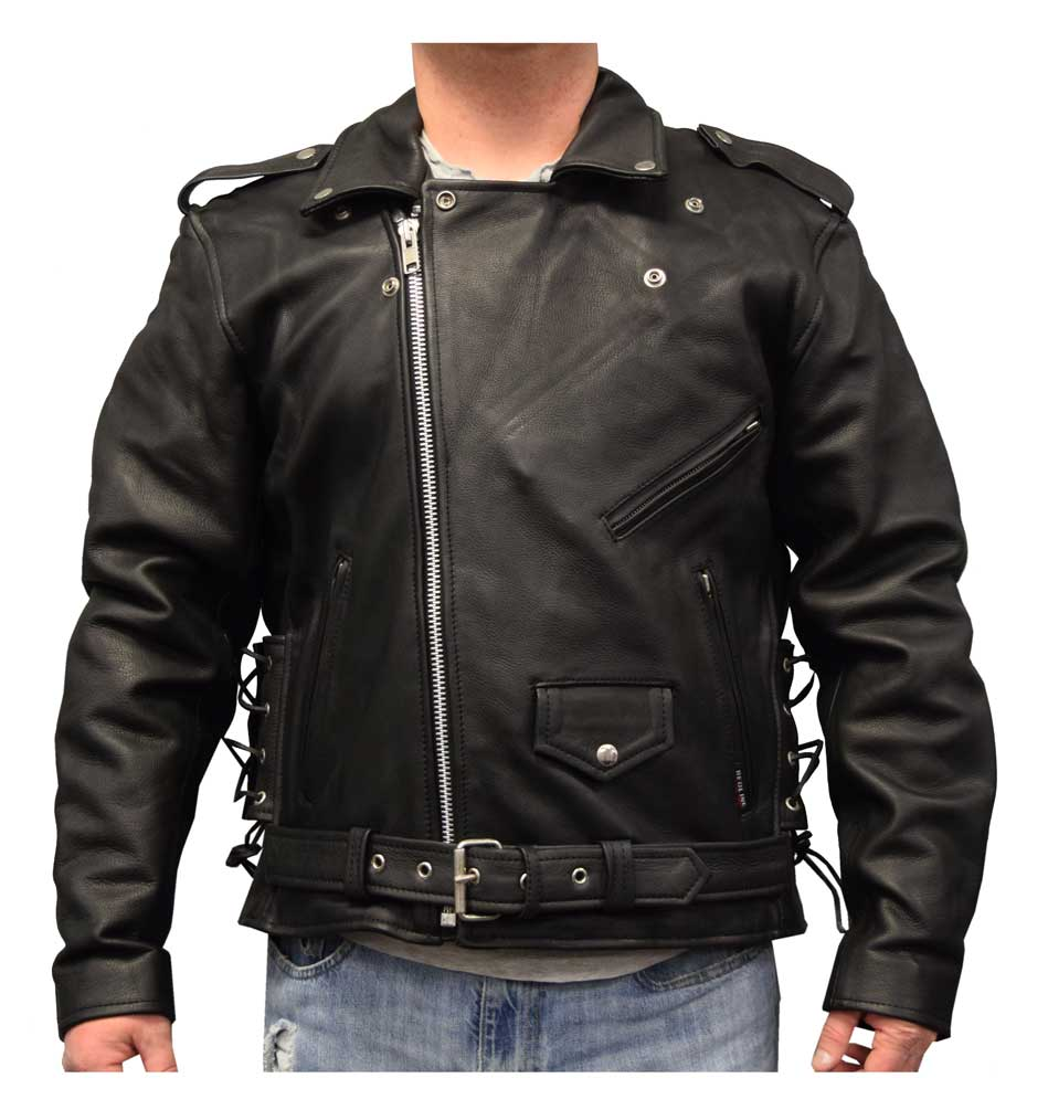 Mens Motorcycle Side lace police style leather jacket