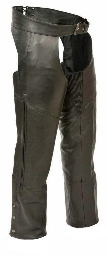 Premium Buffalo Leather Chaps w/Pant Pockets & Stretch