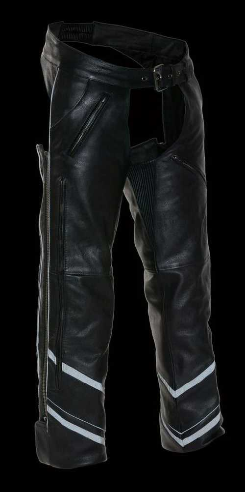 Mens Leather Chaps w/ Zippered Thigh Pockets & Heated