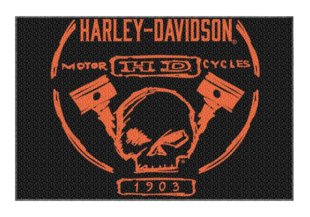 Harley Davidson Build Willie G Skull Piston Tufted Rug