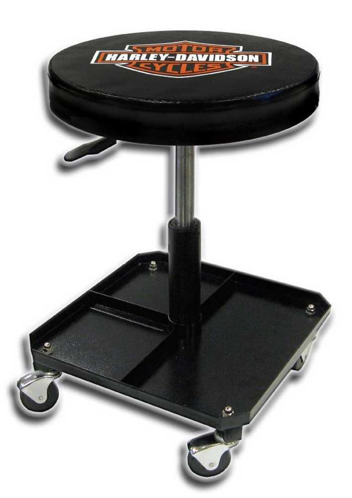 harley davidson bar shield shop stool swivel adjusted seat height p4766 ebay. Black Bedroom Furniture Sets. Home Design Ideas
