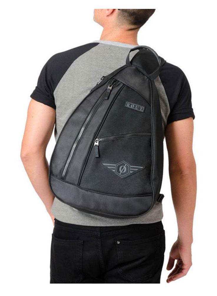 ROUT Adventurer Sling Backpack Adjustable /& Padded Waist Solid Black RBP9144