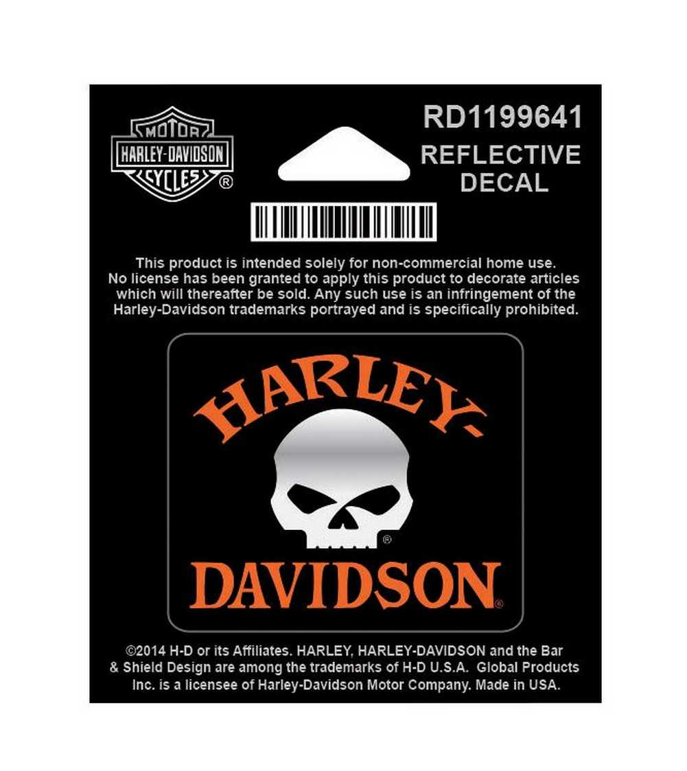Harley Davidson Reflective Decal Willie G Skull X Small