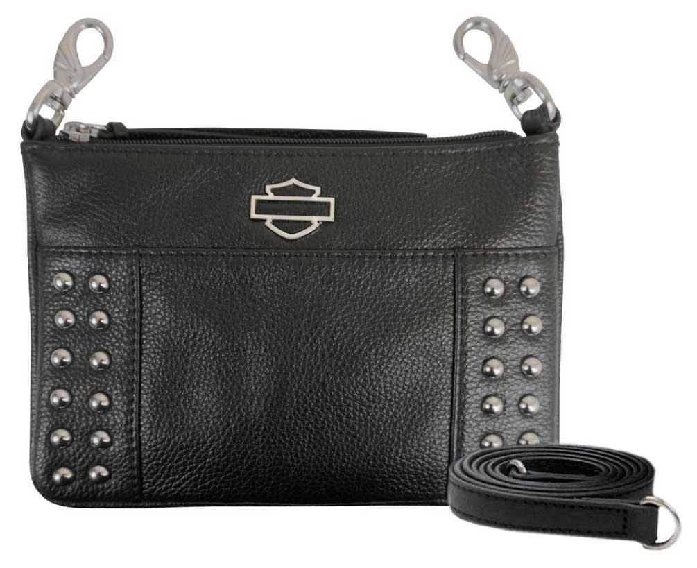 Harley-Davidson Women/'s Rose B/&S Embossed Leather Hip Bag w// Strap WRB2051-BLACK