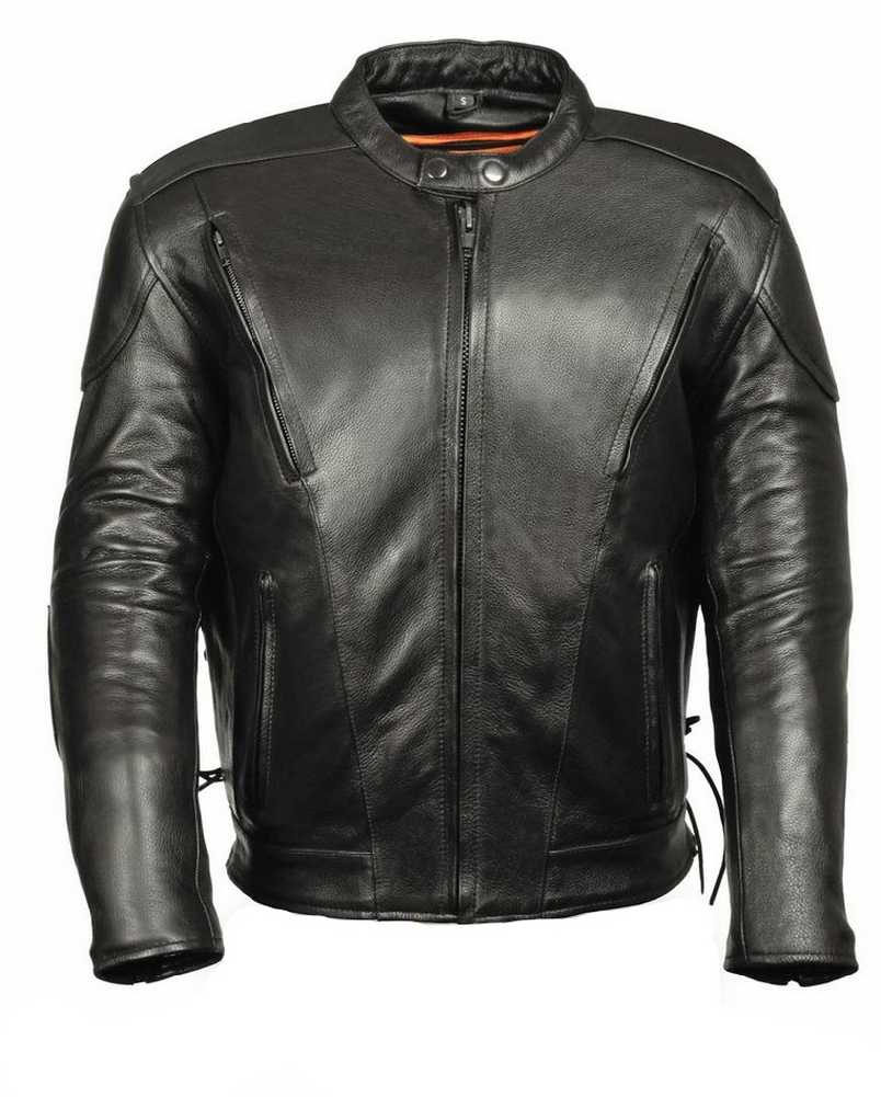 Leather King Men S Side Lace Vented Scooter Jacket Sh1010